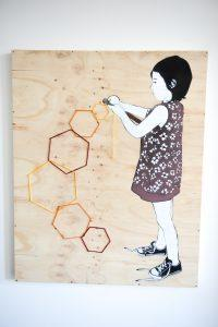 Be Free - Untitled. Aerosol and yarn on wood.