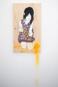 Be Free - Untitled. Aerosol and yarn on wood.