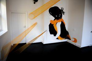 Mural by Be Free. Yarn installation by Be Free and Suki.