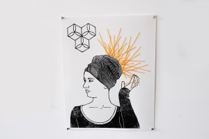 Suki - Untitled. 37cm x 29 cm. Pen, yarn and linocut on archival paper. $120. For sales email info@offthekerb.com.au