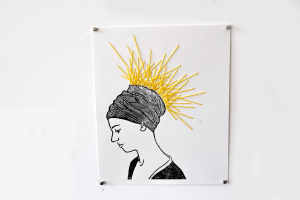 Suki - Untitled. 22cm x 27cm. Linocut print and yarn on archival paper. $100. For sales email info@offthekerb.com.au