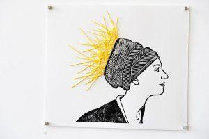 Suki - Untitled. 24cm x 21cm. Linocut print and yarn on archival paper. $100. For sales email info@offthekerb.com.au
