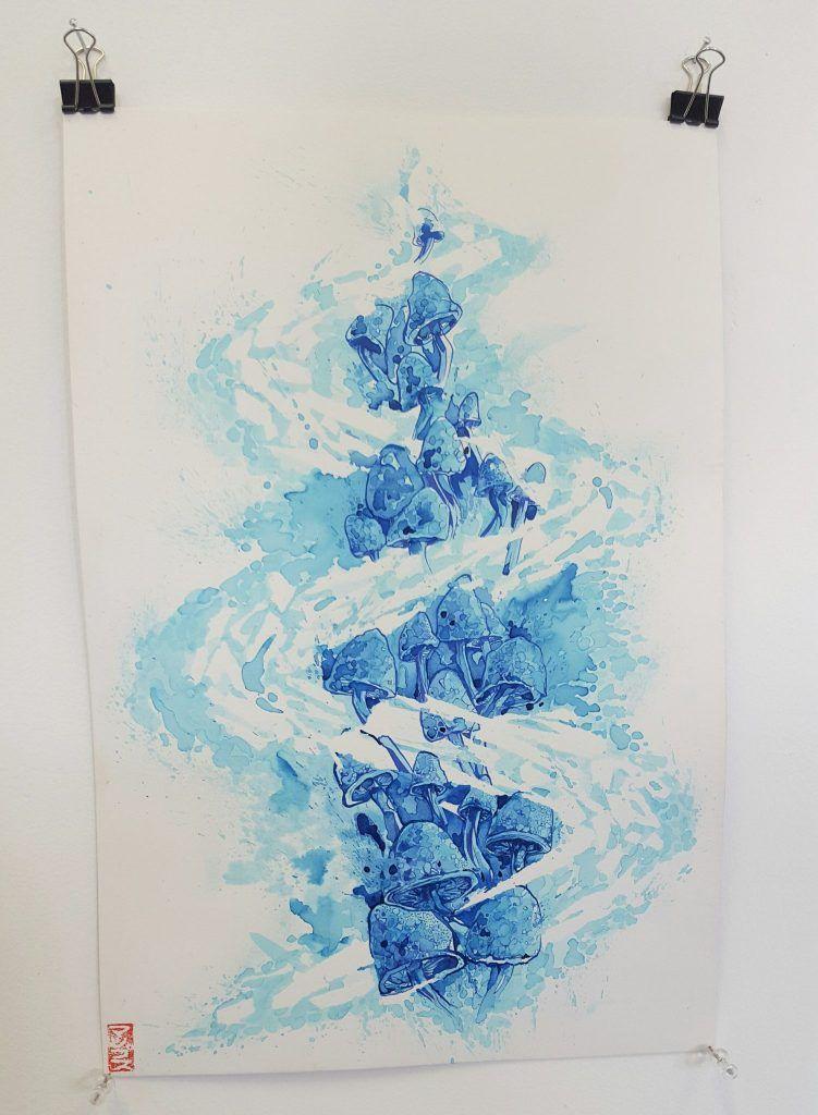 Mupz – 'Double dragon pt.2' – watercolour, ink on illustration board – 25.5cm x 38cm - $150 (set of 2 $280)