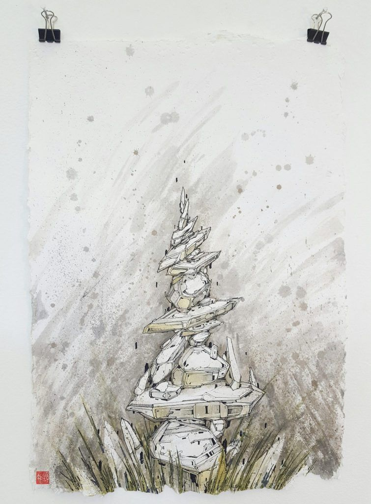 Knock – 'Geo spire II' – watercolour, ink on paper – 21cm x 29.7cm - $180 (set of 3 $350)