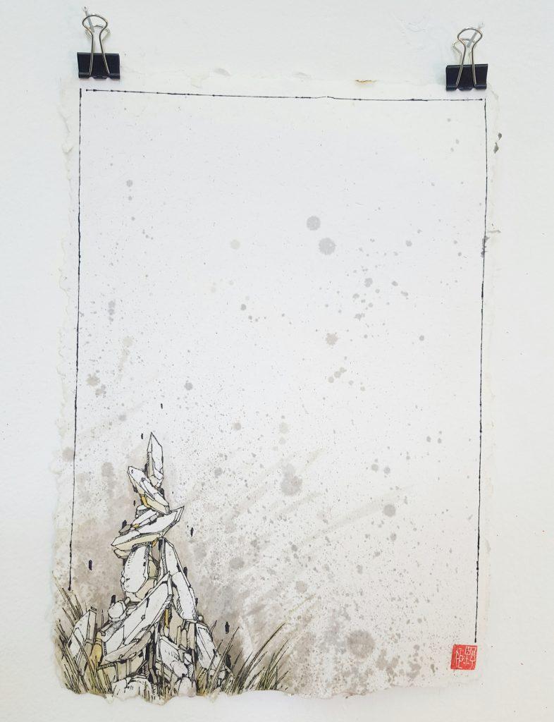 Knock – 'Geo spire III' – watercolour, ink on paper – 21cm x 29.7cm - $160 (set of 3 $350)