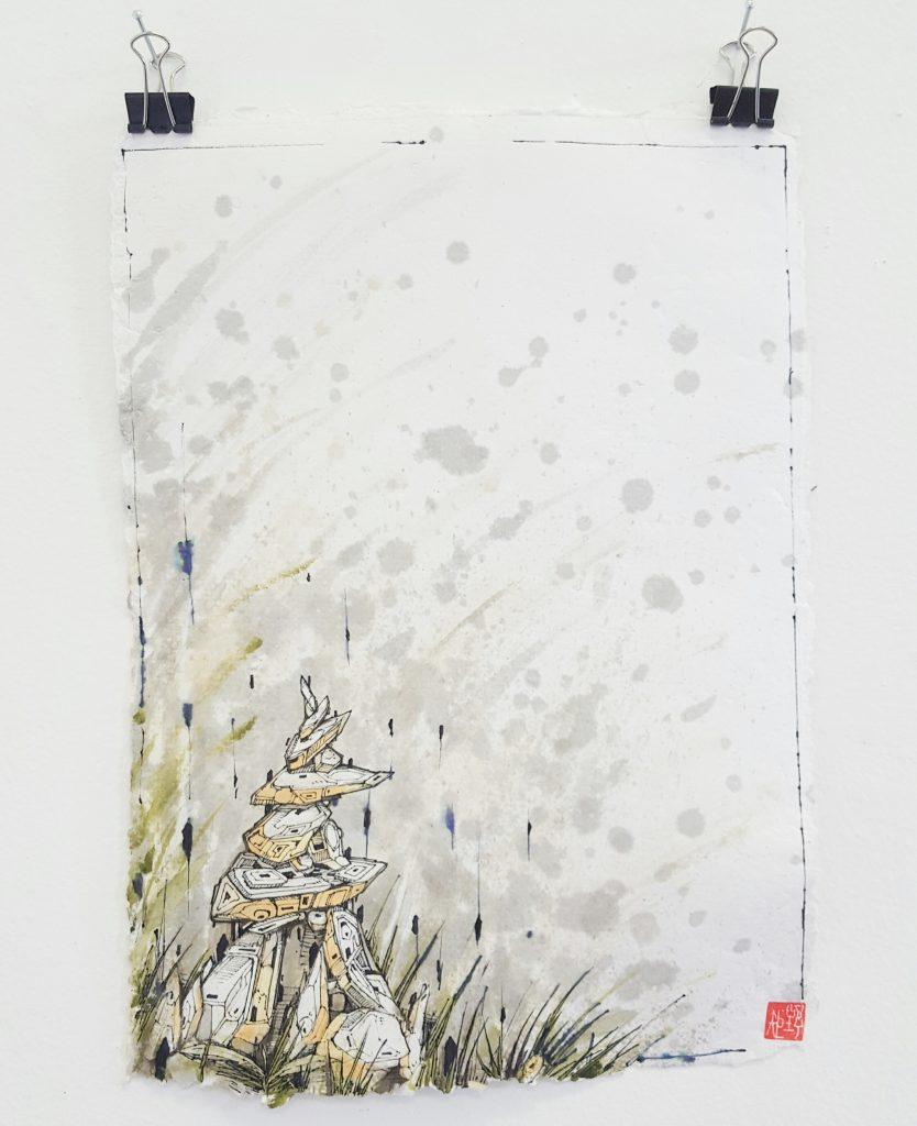 Knock – 'Geo spire x' – watercolour, ink on paper – 21cm x 29.7cm - $120