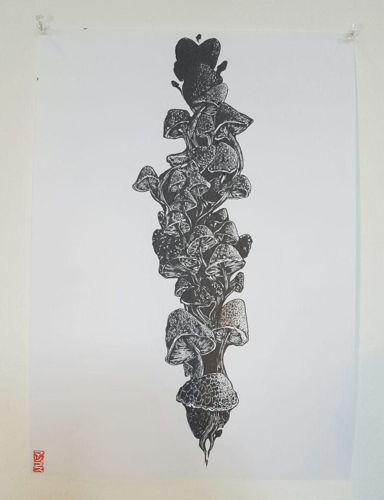 Mupz – 'Growth pt.1' – ink on paper – 29.7cm x 42cm - $80 (set of 2 $150)