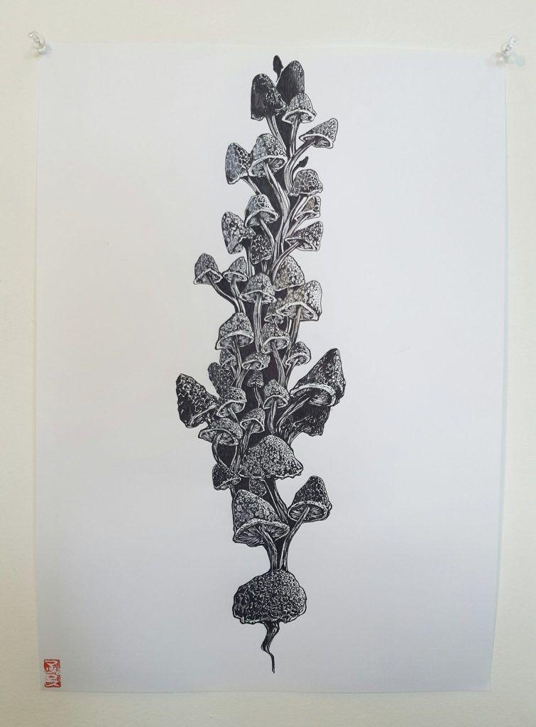 Mupz – 'Growth pt.2' – ink on paper – 29.7cm x 42cm - $80 (set of 2 $150)