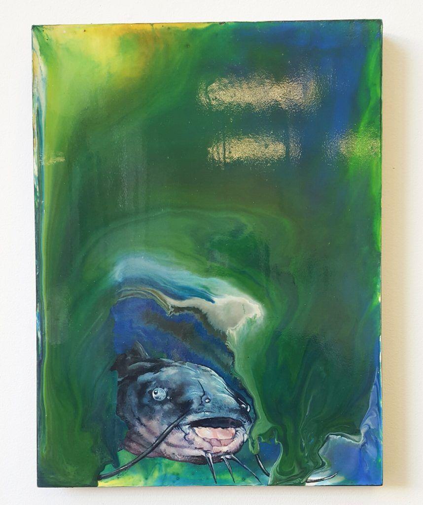 Mupz – 'Comic catfish' - acrylic, ink on wood - 30.5cm x 40.5cm - $450