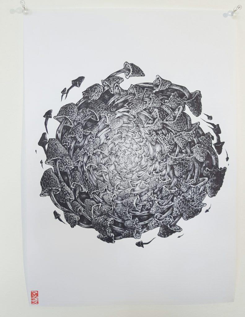 Mupz – 'Vortex' – ink on paper – 30cm x 42cm - $150