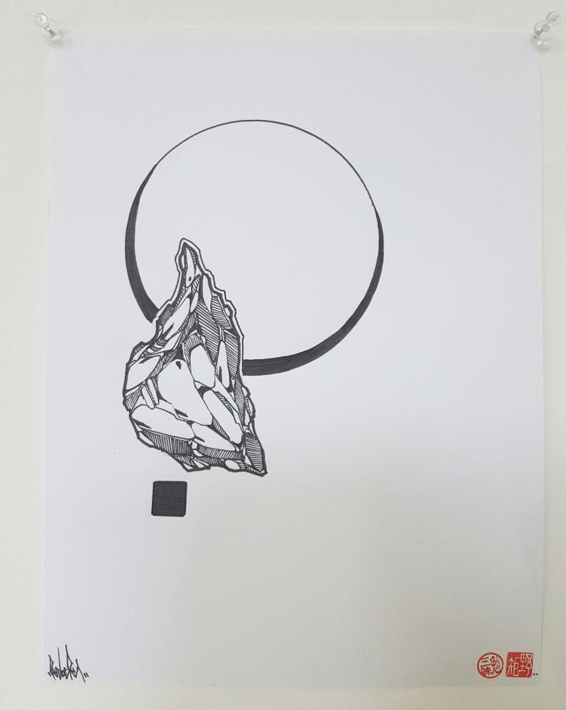 Knock – 'Geode II' – ink on paper – 23cm x 30cm - $50