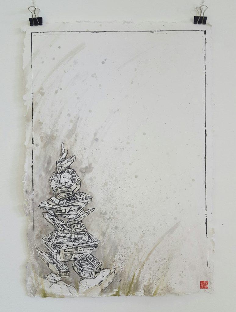 Knock – 'Mech ascension' – watercolour, ink on paper – 29.7cm x 42cm - $220