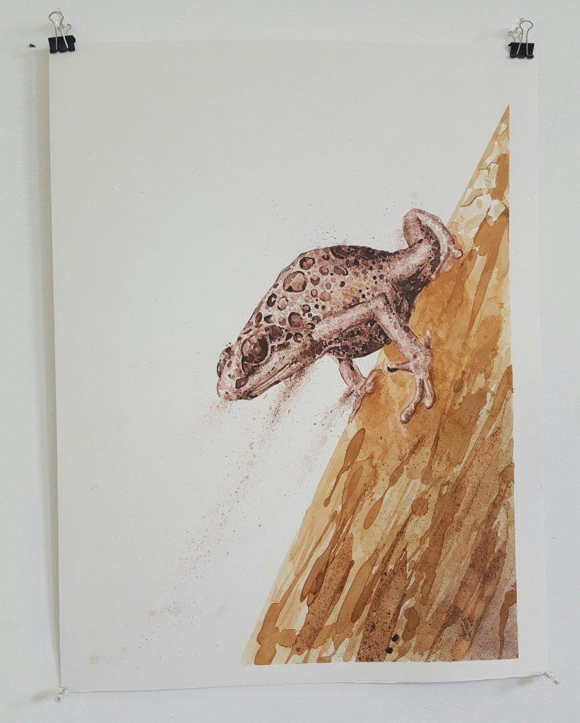 Mupz – 'Descent' – mixed media on illustration board – 38cm x 51cm - $180 (set of 2 $350)