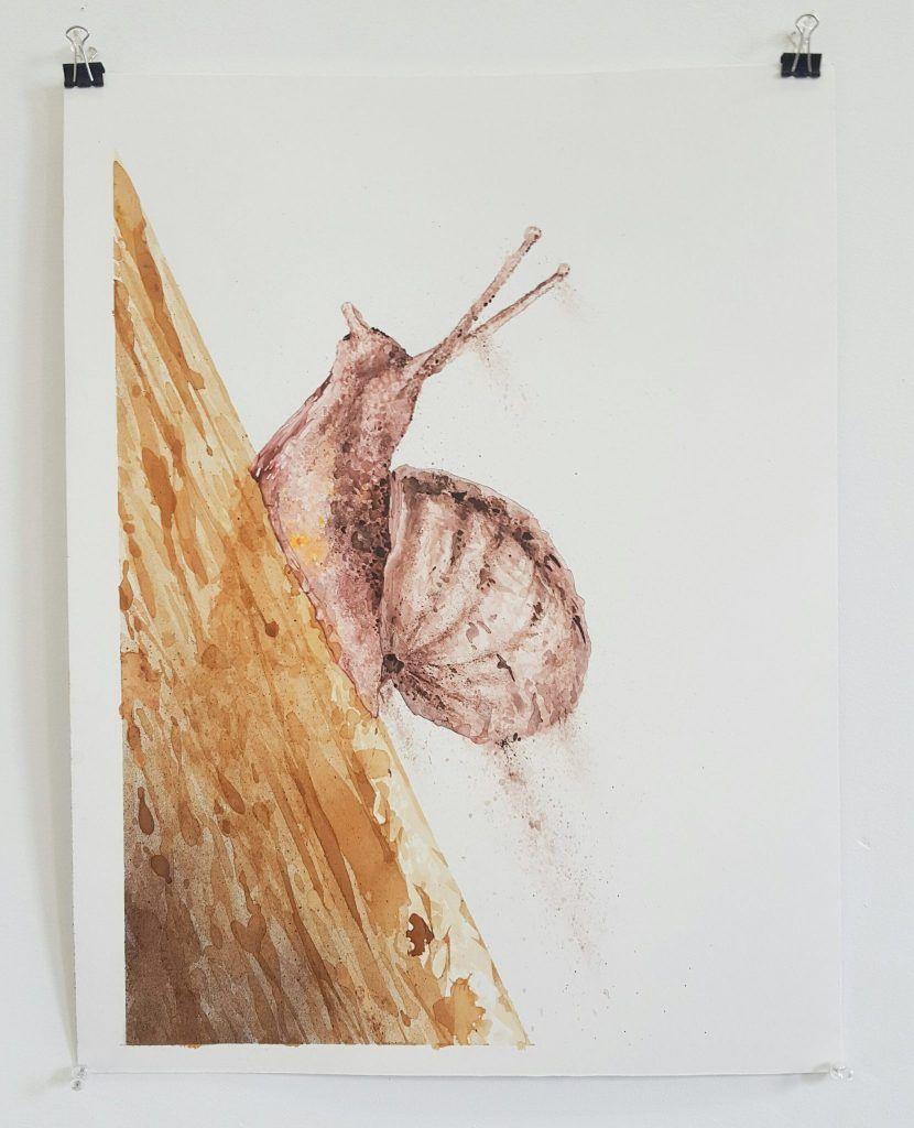 Mupz – 'Ascent' – mixed media on illustration board – 38cm x 51cm - $180 (set of 2 $350)