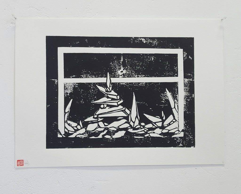Knock –'Flatlined outcrop' – woodblock print – 29.7cm x 42cm - $200 (limited edition of 4)