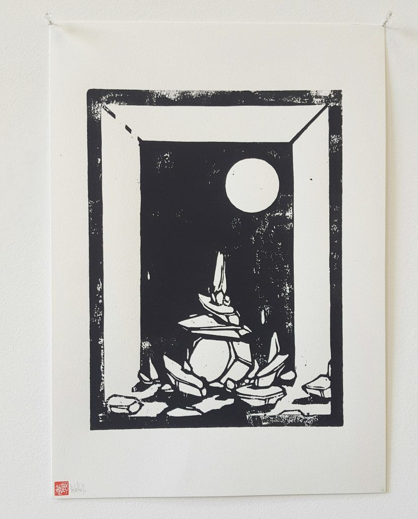 Knock – 'Eclipsed outcrop' – woodblock print – 29.7cm x 42cm - $200 (limited edition of 5)