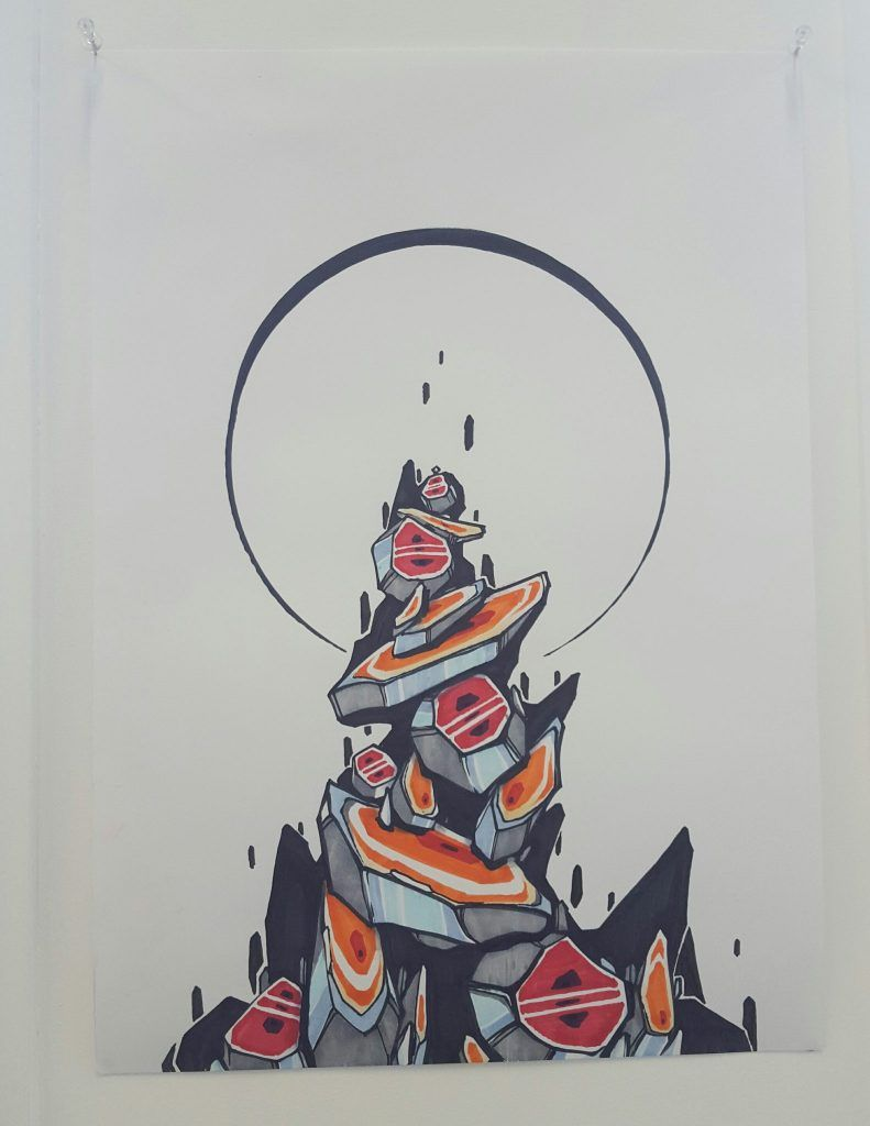 Knock – 'Balance' – ink on paper – 30cm x 42cm - $100