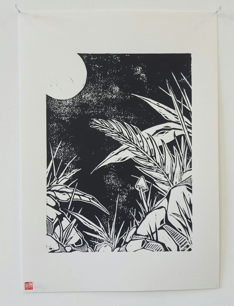 Knock – 'Nocturnal flora' – woodblock print – 29.7cm x 42cm - $150 (limited edition of 5)